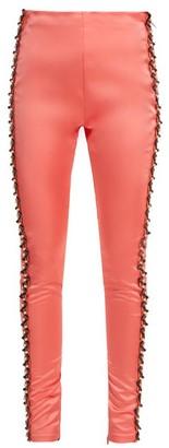 Koché Bead-embellished Side-stripe Satin Trousers - Womens - Coral