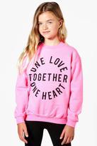 Boohoo Charity Girls One Love, One Heart Sweatshirt
