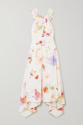 Peter Pilotto Asymmetric Floral-print Cotton-poplin Dress - White
