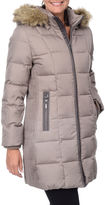 FLEETSTREET COLLECTION Fleet Street Side-Ruched Down Puffer Jacket with Faux-Fur Hood
