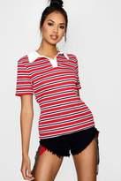 boohoo Faith Stripe Rib Polo T-shirt