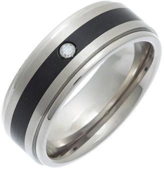 Theia Titanium and Enamel Inlay Flat Court 0.05ct Diamond Matt 8mm Ring - Size S