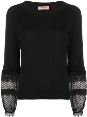 Twin-Set Broderie Anglaise Sleeve Jumper