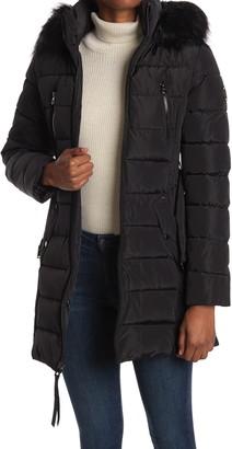 Nautica Faux Fur Hood Belted Puffer Jacket