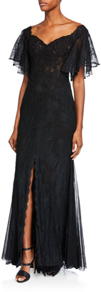 Badgley Mischka Off-the-Shoulder Flounce-Sleeve Lace Corset A-Line Gown