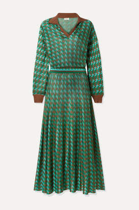 Rixo Annie Houndstooth Knitted Midi Dress - Green