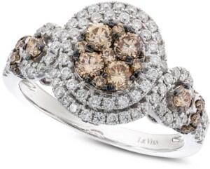 LeVian Le Vian Diamond Double Halo Ring (1-1/4 ct. t.w.) in 14k White Gold