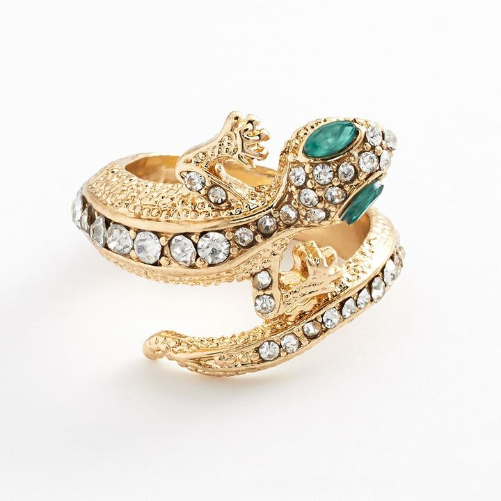 JLO by Jennifer Lopez gold tone simulated crystal lizard bypass ring