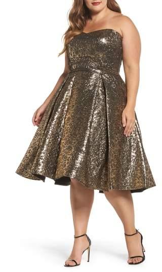 Mac Duggal Metallic Fit & Flare Dress