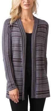 Belldini Black Label Women's Plus Size Metallic Stripe Long Sleeve Cardigan