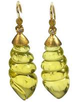 De Buman 18k Gold Genuine Lemon Quartz and Diamond Earrings