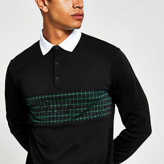River Island Prolific black check slim fit rugby shirt