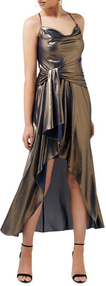 Ever New Metallic Cowl Neck Crossback High-Low Side Drape Dress