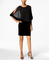 MSK Velvet Chiffon-Overlay Dress