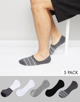 Asos Invisible Socks With Monochrome Stripe Design 5 Pack