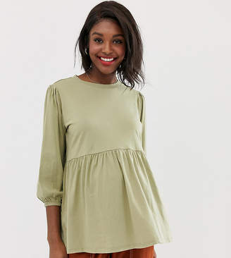 Asos DESIGN Maternity smock top in wash with blouson sleeve detail-Brown