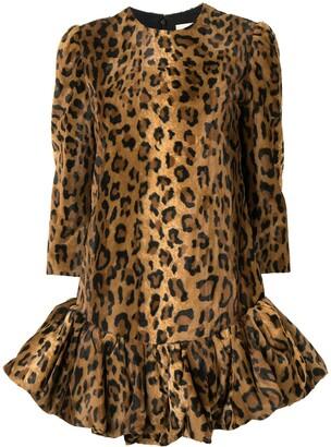KHAITE The Lorie velvet cheetah print dress