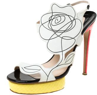 Nicholas Kirkwood Multicolor Flower Leather and Python Platform Sandals Size 39