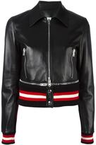 Givenchy cropped leather jacket - women - Cotton/Lamb Skin/Polyamide/Viscose - 38