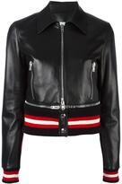 Givenchy cropped leather jacket - women - Cotton/Lamb Skin/Polyamide/Viscose - 40
