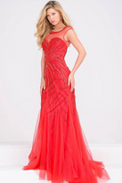 Jovani Beaded Sheer Neckline Prom Dress JVN33693