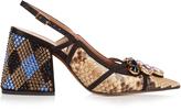 Marni Crystal-embellished block-heel python pumps
