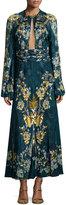 Roberto Cavalli Keyhole Bell-Sleeve Midi Gown, Blue