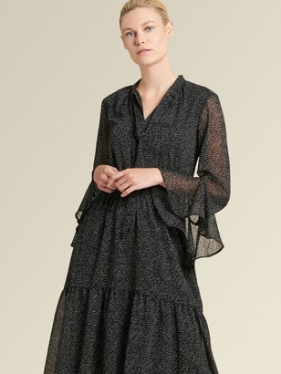 DKNY Donna Karan Women's Polka Dot Tie-neck Dress - Black - Size 0