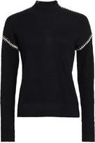 Minnie Rose Cashmere-Blend Whip Stitch Turtleneck Sweater