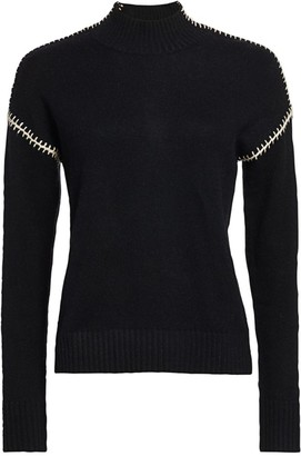 Minnie Rose Cashmere-Blend Whip Stitch Turtleneck Sweater