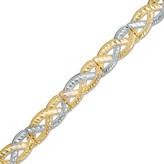 Zales Diamond-Cut Loose Braid Bracelet in 10K Two-Tone Gold