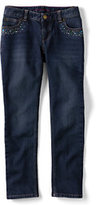 Classic Little Girls Rhinestone 5-pocket Pencil Leg Denim Jeans-Spice Brown