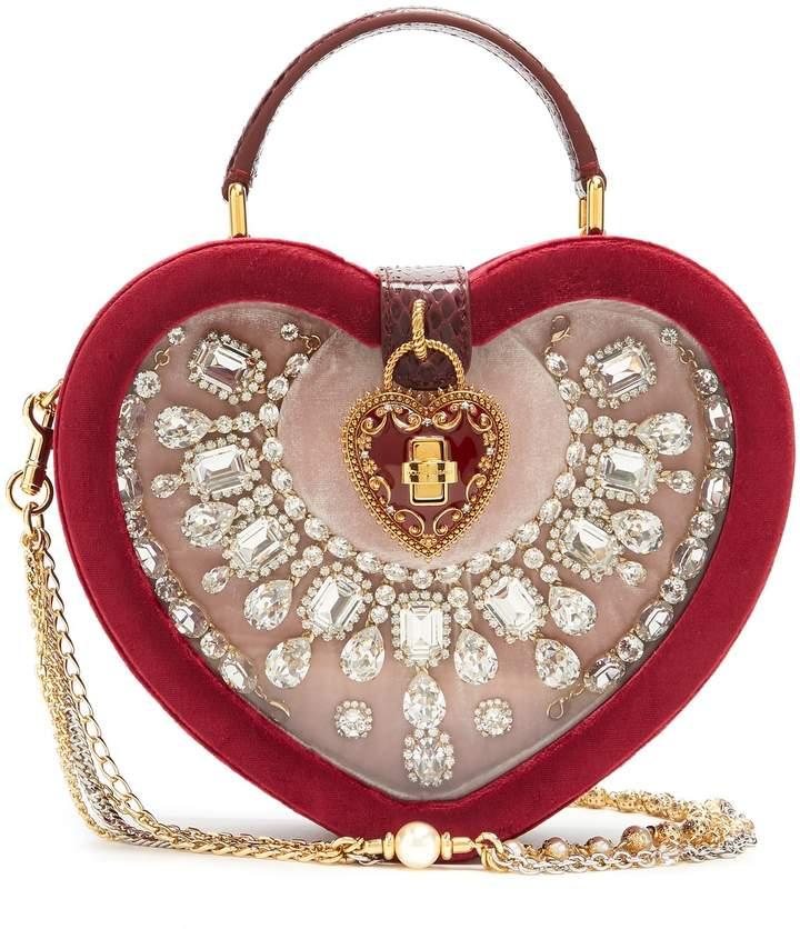 Dolce & Gabbana Crystal-embellished heart-shaped bag