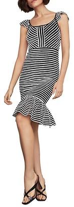 BCBGMAXAZRIA Striped Bodycon Flounced Dress
