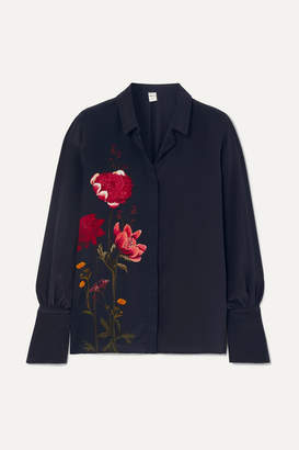 Mother of Pearl Net Sustain And Bbc Earth Miles Faux Pearl-embellished Floral-print Organic Silk Shirt - Navy