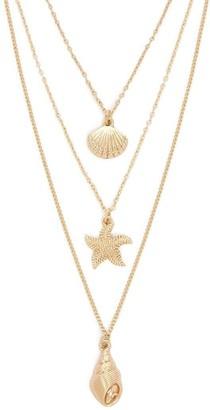 Forever 21 Seashell Starfish Pendant Necklace Set