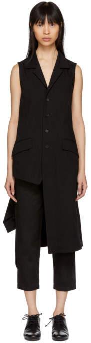 Yohji Yamamoto Black Twill Asymmetric Vest