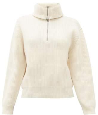 Acne Studios Kelanie Half Zip Ribbed Sweater - Womens - Ivory