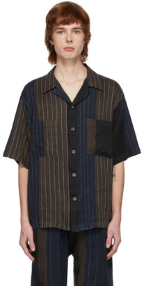 Barena Navy and Brown Striped Shirt