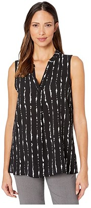 Vince Camuto Sleeveless Stripe Impressions Split-Neck Blouse (Rich Black) Women's Blouse