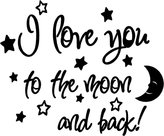 Sticker Perfect I love you to the moon and back again! cute baby nursery wall art wall sayings