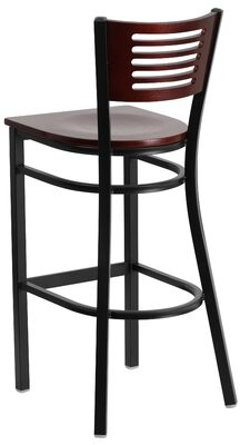 "Winston Porter Chafin Slat Back 30"" Bar Stool Color: Mahogany, Pack Size: 1"