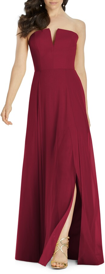 Dessy Collection Strapless Chiffon Evening Dress
