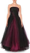 Oscar de la Renta Strapless layered-tulle gown