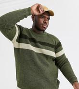 Asos Design ASOS DESIGN Plus chunky ribbed jumper in khaki twist-Green