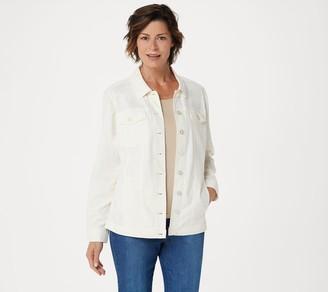 Denim & Co. Stretch Linen Blend Jean Jacket