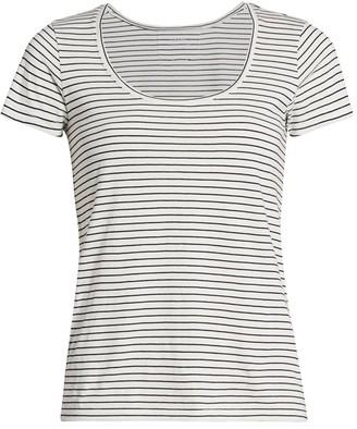 Frame Le Scoop Stripe Cotton T-Shirt