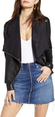 Blank NYC Onto the Next Faux Leather Drape Front Jacket