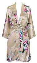 Old Shanghai Women's Kimono Short Robe - Peacock & Blossoms