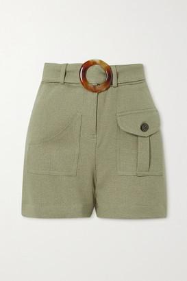 PatBO Belted Gauze Shorts - Sage green
